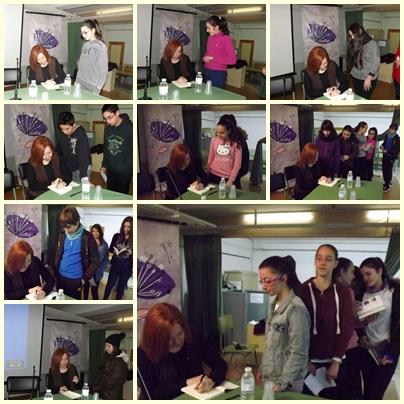 Ana Alonso firmando libros a nuestros alumnos